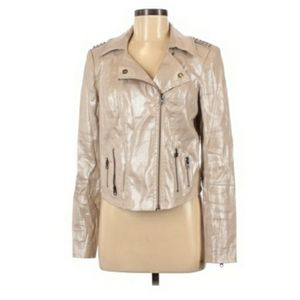 Guess Gold shimmer studded motorcycle bomber M